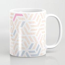 Pastel Deco Hexagon Pattern - Gold, pink & grey #pastelvibes #pattern #deco Coffee Mug