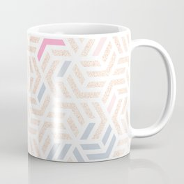 Pastel Deco Hexagon Pattern - Gold, pink & grey #pastelvibes #pattern #deco Coffee Mug