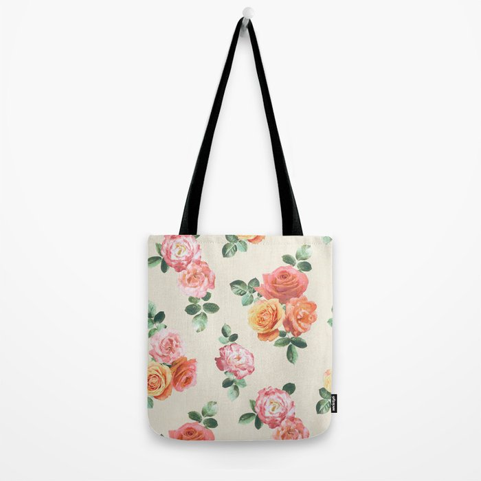Retro Peach and Pink Roses Tote Bag