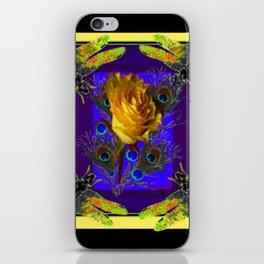 Gold Rose Peacocks Dragonflies Yellow Black iPhone Skin
