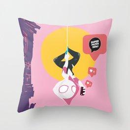 Spider Gwen Super Paper Hero Throw Pillow