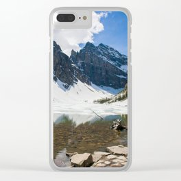 Lake Agnes, Banff, Canada with snow Clear iPhone Case