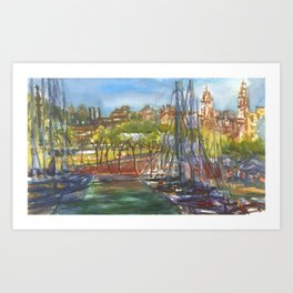 Barcelona Harbor Art Print