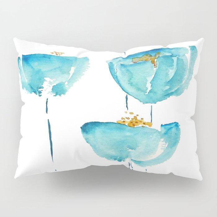 blue poppy watercolor Pillow Sham