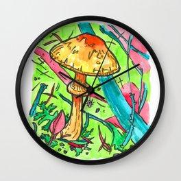 spider and mushroom Wall Clock