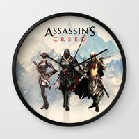assassins creed Wall Clocks featuring Assassins Creed Attack by bivisual