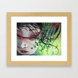 Geisha in Leaves: The Sentimental Concubine Framed Art Print