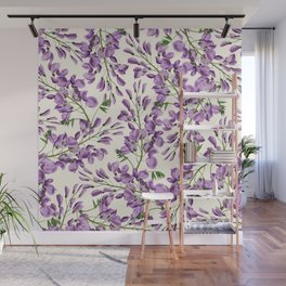 Boho forest green lavender lilac wisteria floral pattern Wall Mural