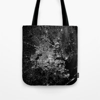 houston Tote Bags featuring Houston map by Line Line Lines