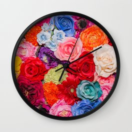Vibrant Rainbow Flowers Wall Clock