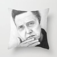 christopher walken Throw Pillows featuring Christopher Walken Portrait by Olechka