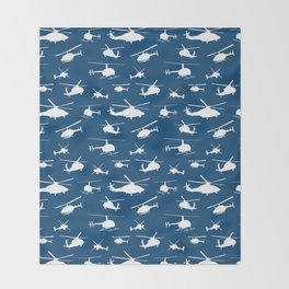 Helicopter Silhouettes on Blue Throw Blanket