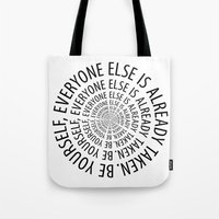 oscar wilde Tote Bags featuring Oscar Wilde by Dizzy Moments