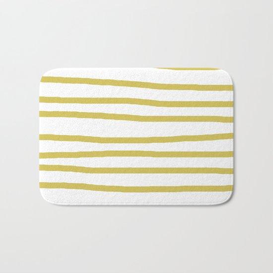 Simply Drawn Stripes Mod Yellow on White Bath Mat