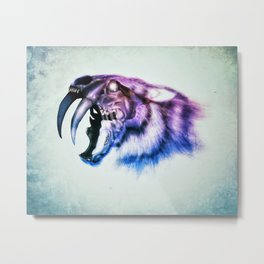 Sabretooth Tiger Skull // FrankenKitty Metal Print