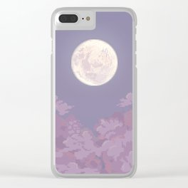 Cloudy Moon Clear iPhone Case