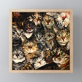 cat collage our beloved kitten cats watercolor splatters Framed Mini Art Print
