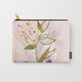 Bink flowers and gold lines Carry-All Pouch