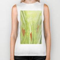 flora Biker Tanks featuring flora by Louisa Stickney-Keats