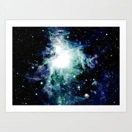 Orion Nebula Midnight Blue Mint Green Art Print