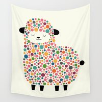 sheep Wall Tapestries featuring Bubble Sheep by Andy Westface