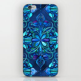 Deep Ocean Art Nouveau Watercolor Doodle iPhone Skin