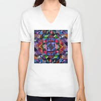 quilt V-neck T-shirts featuring Space Quilt by deff