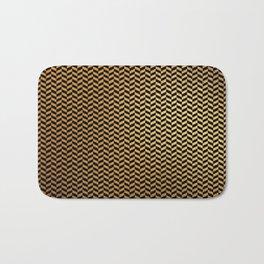 Contemporary Black and Gold Herringbone Pattern Bath Mat