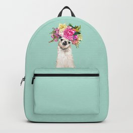 Flower Crown Llama in Green Backpack