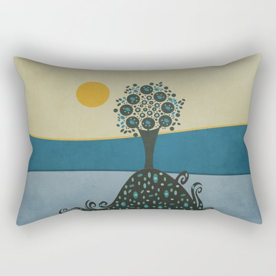 Lone tree in the hills Rectangular Pillow