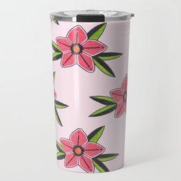 Old school tattoo flower pattern in pink Travel Mug