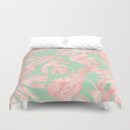 Tropical Palm Leaves Hibiscus Pink Mint Green Duvet Cover