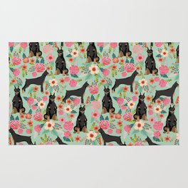 Doberman Pinscher florals must have dog breed gifts for dog person with doberman Rug