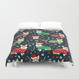 Corgi christmas sweater ugly sweater party with welsh corgis dog lovers dream christmas Duvet Cover