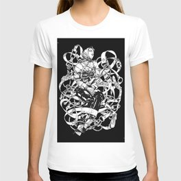 Lady in Belts Fantasy. Black Ink. Yury Fadeev. T-shirt
