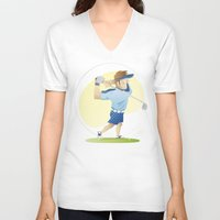 golf V-neck T-shirts featuring Golf by Dues Creatius