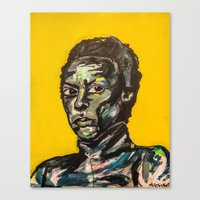 miles davis Canvas Prints featuring Miles Davis by The Art of Murjani Holmes