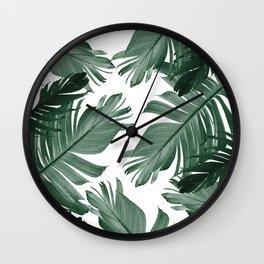 Tropical Banana Leaves Pattern #3 #tropical #decor #art #society6 Wall Clock