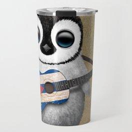 Baby Penguin Playing Cuban Flag Guitar Travel Mug