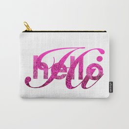 Hello Hi Pink Shimmer Greeting Carry-All Pouch