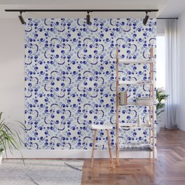 Floral pattern in blue Wall Mural