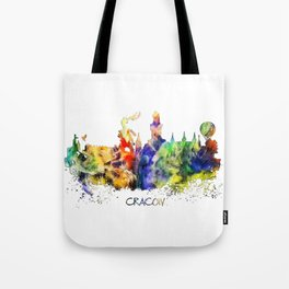 Cracow skyline color Tote Bag