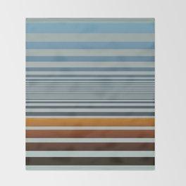 Masculine Grey Blue Wood Grain Gradient Stripes Throw Blanket