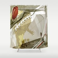 football Shower Curtains featuring Football by Robin Curtiss