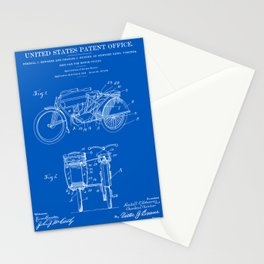 Motorcycle Sidecar Patent 1912 - Blueprint Stationery Cards