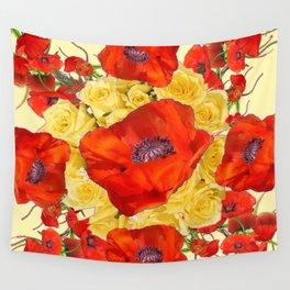 ORANGE POPPY FLOWERS GARDEN YELLOW ROSES ART Wall Tapestry