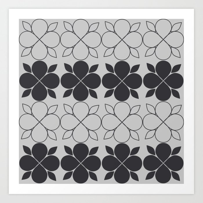 Black and Grey Flower Tile Art Print
