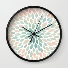 Floral Bloom, Abstract Watercolor, Coral, Peach, Green, Floral Prints Wall Clock