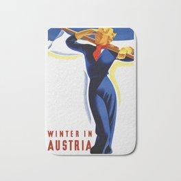 Vintage Winter in Austria Travel Bath Mat