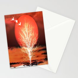 Sun in red Stationery Cards